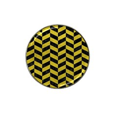 Chevron1 Black Marble & Yellow Leather Hat Clip Ball Marker (10 Pack)