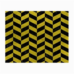 Chevron1 Black Marble & Yellow Leather Small Glasses Cloth