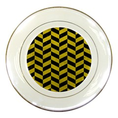 Chevron1 Black Marble & Yellow Leather Porcelain Plates