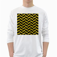 Chevron1 Black Marble & Yellow Leather White Long Sleeve T Shirts