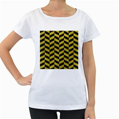 Chevron1 Black Marble & Yellow Leather Women s Loose Fit T Shirt (white)