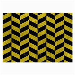 Chevron1 Black Marble & Yellow Leather Large Glasses Cloth (2 Side)