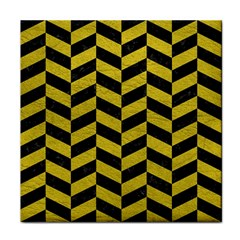 Chevron1 Black Marble & Yellow Leather Face Towel