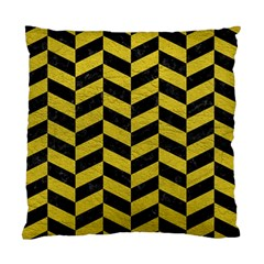 Chevron1 Black Marble & Yellow Leather Standard Cushion Case (two Sides)