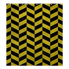 Chevron1 Black Marble & Yellow Leather Shower Curtain 66  X 72  (large)