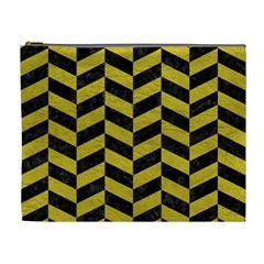 Chevron1 Black Marble & Yellow Leather Cosmetic Bag (xl)