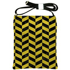 Chevron1 Black Marble & Yellow Leather Shoulder Sling Bags