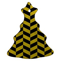 Chevron1 Black Marble & Yellow Leather Christmas Tree Ornament (two Sides)