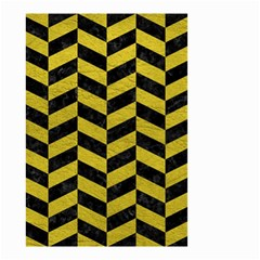 Chevron1 Black Marble & Yellow Leather Small Garden Flag (two Sides)