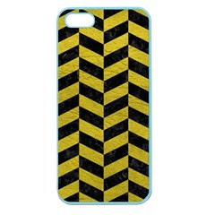 Chevron1 Black Marble & Yellow Leather Apple Seamless Iphone 5 Case (color)