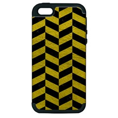 Chevron1 Black Marble & Yellow Leather Apple Iphone 5 Hardshell Case (pc+silicone)