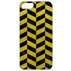 Chevron1 Black Marble & Yellow Leather Apple Iphone 5 Classic Hardshell Case