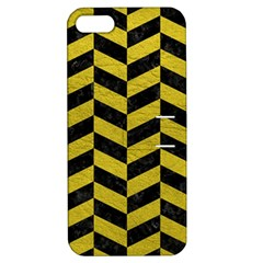 Chevron1 Black Marble & Yellow Leather Apple Iphone 5 Hardshell Case With Stand