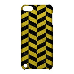 Chevron1 Black Marble & Yellow Leather Apple Ipod Touch 5 Hardshell Case With Stand
