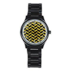 Chevron1 Black Marble & Yellow Leather Stainless Steel Round Watch