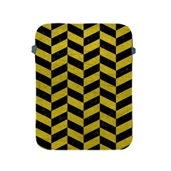 Chevron1 Black Marble & Yellow Leather Apple Ipad 2/3/4 Protective Soft Cases