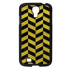 Chevron1 Black Marble & Yellow Leather Samsung Galaxy S4 I9500/ I9505 Case (black)