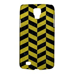 Chevron1 Black Marble & Yellow Leather Galaxy S4 Active