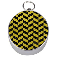 Chevron1 Black Marble & Yellow Leather Silver Compasses