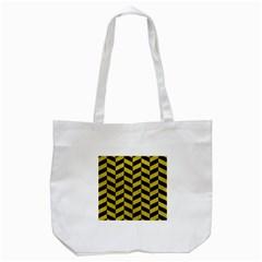 Chevron1 Black Marble & Yellow Leather Tote Bag (white)