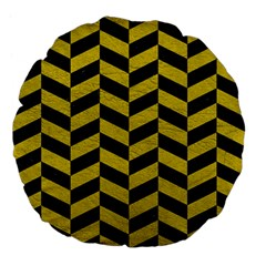 Chevron1 Black Marble & Yellow Leather Large 18  Premium Flano Round Cushions