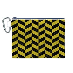 Chevron1 Black Marble & Yellow Leather Canvas Cosmetic Bag (l)