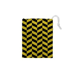 Chevron1 Black Marble & Yellow Leather Drawstring Pouches (xs)