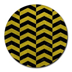 Chevron2 Black Marble & Yellow Leather Round Mousepads