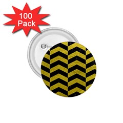Chevron2 Black Marble & Yellow Leather 1 75  Buttons (100 Pack)