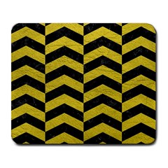 Chevron2 Black Marble & Yellow Leather Large Mousepads