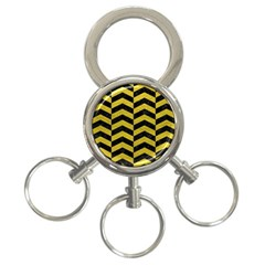 Chevron2 Black Marble & Yellow Leather 3 Ring Key Chains