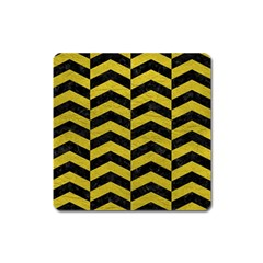 Chevron2 Black Marble & Yellow Leather Square Magnet