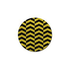 Chevron2 Black Marble & Yellow Leather Golf Ball Marker (4 Pack)