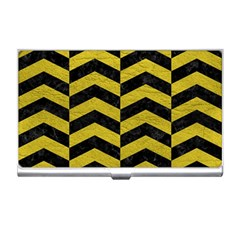Chevron2 Black Marble & Yellow Leather Business Card Holders