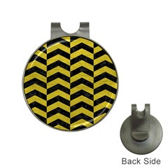Chevron2 Black Marble & Yellow Leather Hat Clips With Golf Markers