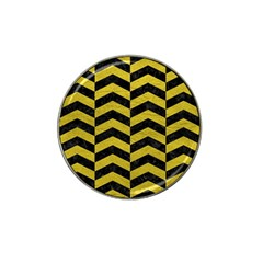 Chevron2 Black Marble & Yellow Leather Hat Clip Ball Marker (4 Pack)