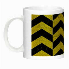 Chevron2 Black Marble & Yellow Leather Night Luminous Mugs