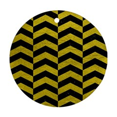 Chevron2 Black Marble & Yellow Leather Round Ornament (two Sides)