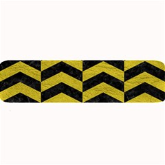 Chevron2 Black Marble & Yellow Leather Large Bar Mats