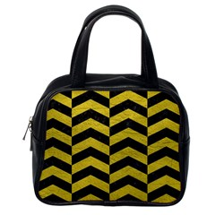 Chevron2 Black Marble & Yellow Leather Classic Handbags (one Side)