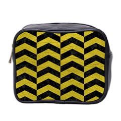 Chevron2 Black Marble & Yellow Leather Mini Toiletries Bag 2 Side