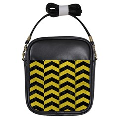 Chevron2 Black Marble & Yellow Leather Girls Sling Bags