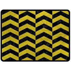 Chevron2 Black Marble & Yellow Leather Fleece Blanket (large)