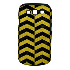 Chevron2 Black Marble & Yellow Leather Samsung Galaxy S Iii Classic Hardshell Case (pc+silicone)