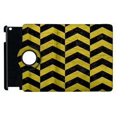 Chevron2 Black Marble & Yellow Leather Apple Ipad 3/4 Flip 360 Case