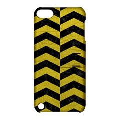 Chevron2 Black Marble & Yellow Leather Apple Ipod Touch 5 Hardshell Case With Stand