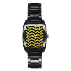 Chevron2 Black Marble & Yellow Leather Stainless Steel Barrel Watch