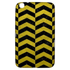 Chevron2 Black Marble & Yellow Leather Samsung Galaxy Tab 3 (8 ) T3100 Hardshell Case