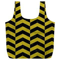 Chevron2 Black Marble & Yellow Leather Full Print Recycle Bags (l)