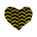 CHEVRON2 BLACK MARBLE & YELLOW LEATHER Standard 16  Premium Flano Heart Shape Cushions Front